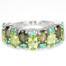 NATURAL AAA GREEN PERIDOT, TOURMALINE & EMERALD STERLING 925 SILVER RING 7.75