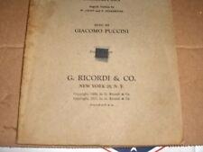 La Boheme Composed By G. Puccini Vocal Rare Original An Opera In Four Acts 1917