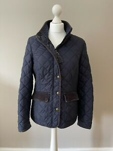 Ladies Joules Moredale Quilted Jacket, Floral Lined, Cord Accents, Size 12, Navy