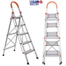66.5in Folding 5-Step Ladder Non-Slip Heavy Duty Steel Ladders Heavy Duty Steel
