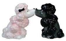 New MWAH KISS Salt & Pepper Shakers PINK BLACK POODLE Dog Figurine Puppy Statue