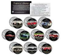 AUCTION CARS Colorized JFK Kennedy Half Dollar US 10-Coin Set FERRARI & BUGATTI