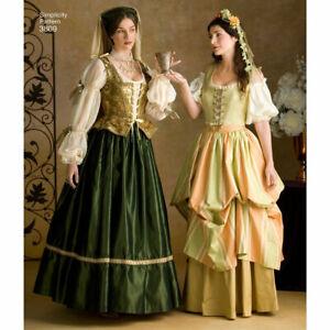 Renaissance Lady Wench costume PATTERN Hat Veil Simplicity 3809 10 12 14 dress