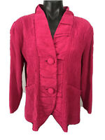 FLAIR Womens Size M Pink Button Front Crinkle Ruching Blazer Jacket Top Blouse