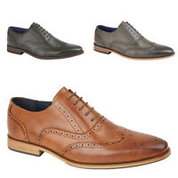 Mens Faux Leather Canterbury Formal wedding office work brogue shoes Size UK