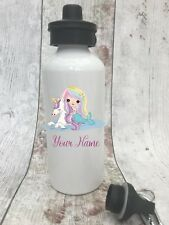 Personalised Cute Mermaid Unicorn Drinks Water Bottle Girl School Sport Dance