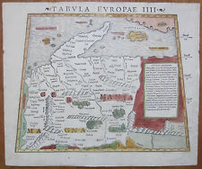 Munster Muenster Early Original Map of Germany Tabula europae IIII - 1550