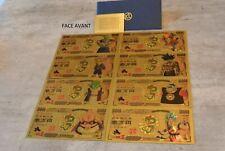 Dragon Ball Z x8 Banknote 10000 Yen Gold Collectible DBZ Japan No Bandai Card