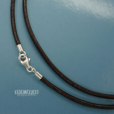 "SALE 17"" Sterling Silver 2mm Round V. Dk. Brown Genuine Leather Cord Necklace"