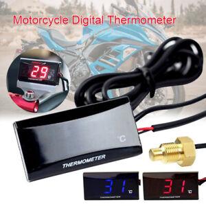 Motorcycle Temperature Gauge Digital LED Water Temperature Gauge with Sensor AU