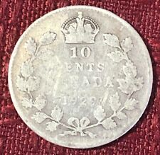 1929 ~ CANADA ~ 10 CENTS ~ GEORGE V ~ G6 Condition (a)