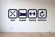 Eat, Sleep, Train, Repeat, Gym, Exercise, Keep fit wall art vinyl decal sticker
