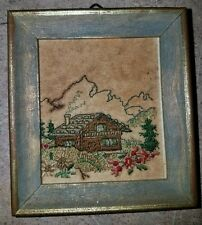 VINTAGE FRAMED EMBROIDERED NEEDLEPOINT 3""