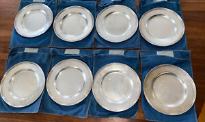 STERLING SILVER PLATES SET 8 BREAD BUTTER 6 INCHES NOT SCRAP 600 grams.  19.2oz
