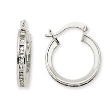 9CT WHITE GOLD CUBIC ZIRCONIA HUGGIE CZ CRYSTAL CUFF ETERNITY EARRINGS GIFT BOX