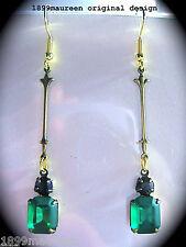Art Nouveau Art Deco Pendientes Estilo Vintage 1920s Verde Negro Cristal larga caída