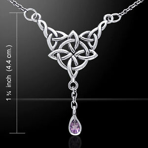 Celtic Necklace Quaternary Knot Sterling Silver by Peter Stone Jewelry
