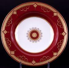 12 Antique Minton Medallion Garnet Red Soup Bowls: gold encrusted, gilded, gilt