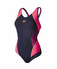 Women's Speedo Fit Muscleback Swimsuit Ladies Costume Pool Black Pink