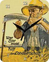 WER BIER TRINKT HILFT DER LANDWIRTSCHAFT BAUER  - Blechuhr Wanduhr Uhr Clock 88