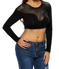 Sexy Seamless Mesh Inlay Long Sleeved Black Cropped Top size 12 - 14