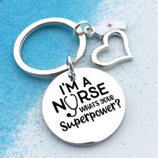 Nurse Keychain Gift Keyring Charm Pendant Purse Bag Key Ring Heart Shaped BM