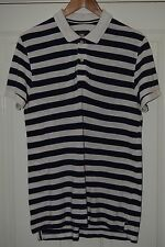 A shirt from H&M. size M. Polo style blue and white stripe. 100% cotton.