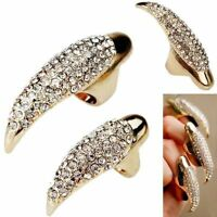 Fashion Retro Punk Rock Crystal Rhinestone Claw Ring Nail Paw Talon Finger Rings