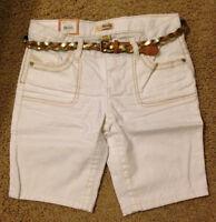 NWT Mudd Belted Denim Bermuda Shorts - Girls Plus  Size 8 1/2  10 1/2 12 1/2
