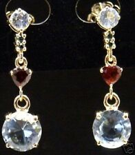 14K gold, 5 ct Aquamarine, Tourmaline & Garnet Earrings
