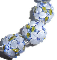 Lampwork Glass Flower Beads Raised Petals Blue 15 mm 4 Beads (#a33b)