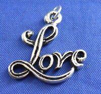 Love Sterling Silver Bracelet Charm Pendant Embellishment 925