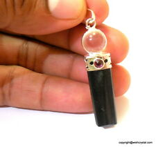 Wholesale Lot Of 25 Black Tourmaline Pendant With Garnet On Top