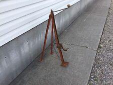 Antique Primitive Jack Metal And Wood Chain Tripod Bumper Lift Hand Crank Screw