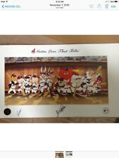 """animation art, Bugs Bunny & Friends as Cleveland Indians in Dugout, 19"""" x 33"""","""