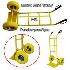 200kg Sack Truck Hand Trolley Heavy Duty Industrial Barrow Cart Solid Dolly Axle