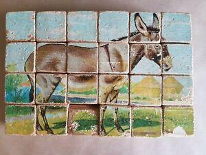 Antique litho print six farmyard animals wooden 16 block puzzle Fair condition