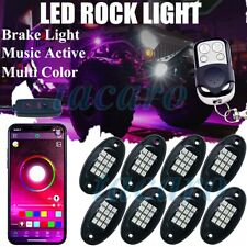 8X LED Rock Light bluetooth Offroad Truck Under Body Glow Trail Flashing Lamp