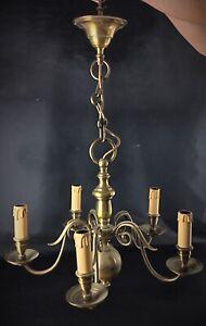 Ancien vintage Lustre lampe suspension boule à 5 bras en bronze