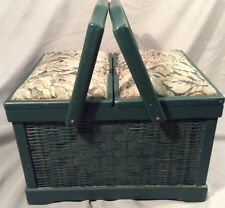 Green Sewing Box Basket Wood Wicker Fabric On Top Handle