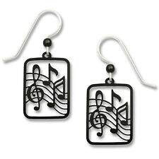 Music Note Earrings - 925 Sterling Silver Ear Wire - Black Treble Clef Notes NEW