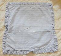 """Laura Ashley Square Pillow Shams Covers (2) Stripes Ruffles 25"""" x 25"""" Vintage"""