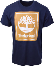Timberland Men's Navy Blue Gold Box Logo S/S Tee (Retail $35) S03