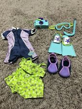 American Girl Kailey Hopkins GOTY RETIRED SNORKLE WETSUIT BIKINI FINS LOT