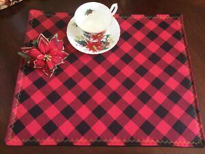 Christmas Red Black Buffalo Plaid Fabric Placemats Set of 4
