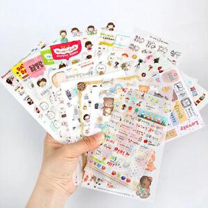 6sheets/bag Cute Stickers Journal Kawaii Scrapbooking Planner Diary Sticker Set