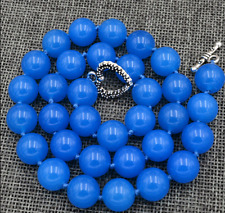 Natural AAA 12mm Blue Jade Gemstone Necklace 18 ""
