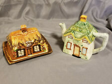 Two Vtg English Cottage Ware Sets- Teapot and Butter/Cheese Dish