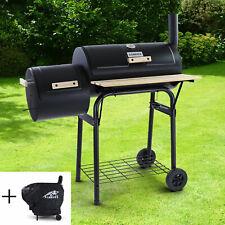 RAMROXX® BBQ XL Smoker Holzkohle Barbecue Grill RX970 Schwarz mit Abdeckung