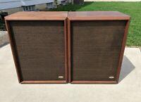 Vintage Allied Radio Pair Speakers 2385 Walnut 15 inch Woofers Horns Rare